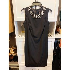 Black dress with Pearl Collar